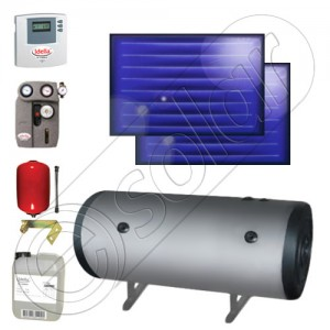 Pachet de panouri solare plane cu boiler termoelectric