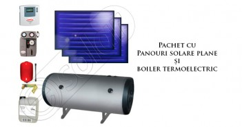 Pachet panouri solare plane cu boiler termoelectric prețuri ieftine