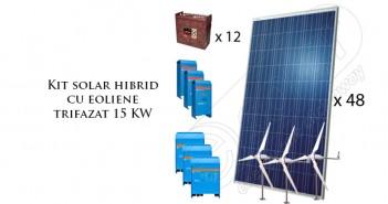 Kit solar hibrid cu eoliene trifazat 15 KW