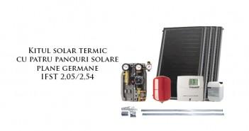 Kit solar cu patru panouri plane germane pentru aport apă caldă