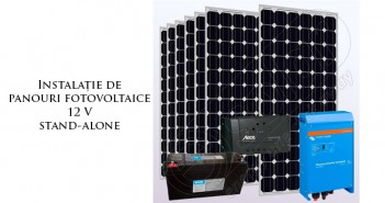 Instalație cu panouri fotovoltaice și invertor 12V stand-alone