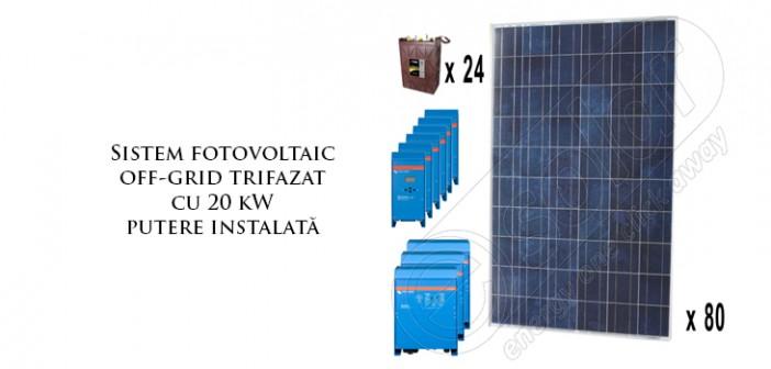 Sistem fotovoltaic off-grid trifazat cu 20 kW putere instalată