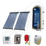 Panouri cu tuburi vidate si boiler SIU 2x10-100.1TE, Pachet cu panou solar cu tuburi vidate, Panou solar cu tuburi vidate cu boiler termoelectric
