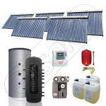 Panouri cu tuburi vidate Solariss Iunona si puffer, Instalatie presurizata solara pentru incalzire, Puffer cu 2 serpentine si panou solar