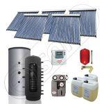 Pachet cu panou solar pentru aport la incalzire, Instalatii solare si puffer cu 2 serpentine, Puffer si panouri cu tuburi vidate Solariss Iunona