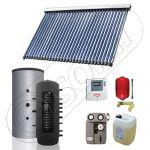 Set panou solar pentru incalzire cu tuburi vidate si puffer, Pachet cu panou solar cu tuburi vidate, Puffer si colectoare solare cu tuburi vidate