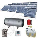 Set colectoare solare vidate si boiler orizontal SIU 13x22-2000.2BMH, Instalatii solare presurizate cu boiler solar pentru apa calda, Colectoare solare vidate la pachet cu boiler orizontal