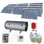 Set colectoare solare vidate si boiler orizontal SIU 10x30-2000.2BMH, Instalatii solare presurizate cu boiler solar pentru apa calda, Colectoare solare vidate la pachet cu boiler orizontal
