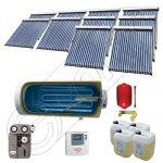 Instalatii solare presurizate cu boiler solar pentru apa calda, Colectoare solare vidate la pachet cu boiler orizontal, Set colectoare solare vidate si boiler orizontal SIU 10x18-2000.1BMH
