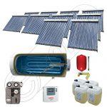 Instalatii solare presurizate cu boiler solar pentru apa calda, Colectoare solare vidate la pachet cu boiler orizontal, Set colectoare solare vidate si boiler orizontal SIU 10x20-1500.1BMH