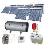 Instalatii solare presurizate cu boiler solar pentru apa calda, Colectoare solare vidate la pachet cu boiler orizontal, Set colectoare solare vidate si boiler orizontal SIU 10x20-1500.2BMH