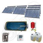 Set panouri solare ieftine cu boiler fabricate in China, Colectoare solare China Solariss Iunona, Instalatie cu panouri solare China cu tuburi vidate SIU 7x30-1500.1BMH