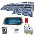 Panouri cu tuburi vidate si boiler Solariss Iunona, Pachet colectoare solare ieftine cu tuburi vidate, Instalatie solara presurizata cu boiler SIU 14x22-2000.1BMH