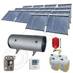Panouri cu tuburi vidate si boiler Solariss Iunona, Pachet colectoare solare ieftine cu tuburi vidate, Instalatie solara presurizata cu boiler SIU 14x22-2000.2BMH