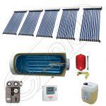 Boiler cu o serpentina si panou solar ieftin cu tuburi vidate, Panouri solare cu boiler monovalent de 400 litri, Colectoare solare pentru apa calda