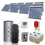 Panouri solare China Solariss Iunona, Colectoare solare cu puffer pentru apa calda tot anul, Puffer cu o serpentina si panou solar cu tuburi vidate