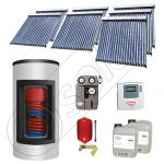 Set panouri solare ieftine cu boiler Kombi de 1000/200 litri si doua serpentine, Set panouri solare Solariss Iunona, Pachet cu panou solar China cu tuburi vidate