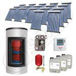 Panouri cu tuburi vidate Solariss Iunona si boiler pentru apa calda, Pachet cu panou solar cu tuburi vidate, Panou solar si boiler Kombi  cu 2 serpentine