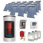 Panou solar ieftin cu tuburi vidate si boiler Kombi cu o serpentina, Panouri solare cu boiler monovalent de 1500/300 litri, Panouri solare pentru apa calda