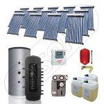Puffer bivalent de 1500 litri si panouri solare ieftine, Pachet cu panou solar cu tuburi vidate, Instalatii solare pentru incalzire Solariss Iunona