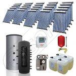 Puffer bivalent de 2500 litri si panouri solare ieftine, Pachet cu panou solar cu tuburi vidate, Instalatii solare pentru incalzire Solariss Iunona