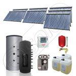Panouri solare Solariss Iunona, Puffer cu o serpentina si panou solar cu tuburi vidate, Instalatii presurizate ieftine apa calda tot anul