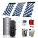 Puffer monovalent cu panouri solare SIU 3x10-300.1PF, Colectoare solare vidate si Puffer monovalent 300 litri, Instalatie solara vidata cu Puffer pentru apa calda si caldura