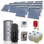 Puffer cu o serpentina si panou solar ieftin cu tuburi vidate, Panouri solare cu puffer monovalent de 2500 litri, Colectoare solare pentru incalzire