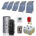Puffer bivalent de 2000 litri si panouri solare ieftine, Pachet cu panou solar cu tuburi vidate, Instalatii solare pentru incalzire Solariss Iunona