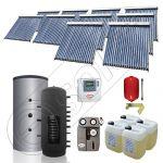 Puffer cu o serpentina si panou solar ieftin cu tuburi vidate, Panouri solare cu puffer monovalent de 1500 litri, Colectoare solare pentru incalzire