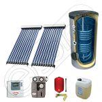 Pachet cu panouri solare cu tuburi vidate, Panouri solare cu tuburi vidate cu boiler cu 2 serpentine, Panouri cu tuburi vidate si boiler Solariss Iunona