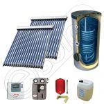 Set panouri solare ieftine cu boiler de 400 litri si doua serpentine, Set panouri solare China Solariss Iunona, Pachet cu panou solar China cu tuburi vidate