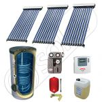 Set panou solar cu tuburi vidate cu boiler cu doua serpentine, Pachet cu panou solar cu tuburi vidate, Panouri cu tuburi vidate si boiler Solariss Iunona