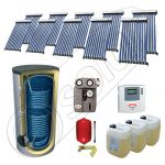 Panouri cu tuburi vidate cu boiler fabricate in China, Pachet panouri solare si boiler cu doua serpentine 750 litri, Set panouri solare cu tuburi vidate SIU 10x10-750.2BM