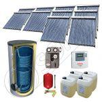 Panouri cu tuburi vidate cu boiler fabricate in China, Pachet panouri solare si boiler cu doua serpentine 2000 litri, Set panouri solare cu tuburi vidate SIU 10x18-2000.2BM