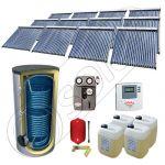 Panouri cu tuburi vidate cu boiler fabricate in China, Pachet panouri solare si boiler cu doua serpentine 2000 litri, Set panouri solare cu tuburi vidate SIU 12x22-2000.2BM