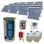 Set panouri solare cu tuburi vidate SIU 13x20-2000.2BM, Panouri cu tuburi vidate cu boiler fabricate in China, Pachet panouri solare si boiler cu doua serpentine 2000 litri