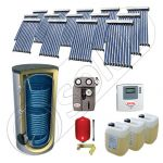 Set panouri solare cu tuburi vidate SIU 14x10-1500.2BM, Panouri cu tuburi vidate cu boiler fabricate in China, Pachet panouri solare si boiler cu doua serpentine 1500 litri