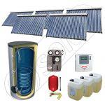 Set panouri cu tuburi vidate si boiler SIU 5x30-2000.1BM, Pachet cu panouri solare cu tuburi vidate, Panouri solare cu tuburi vidate cu boiler capacitate mare