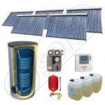 Set panouri cu tuburi vidate si boiler SIU 5x30-2000.2BM, Pachet cu panouri solare cu tuburi vidate, Panouri solare cu tuburi vidate cu boiler capacitate mare