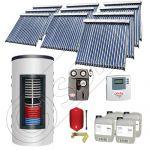 Set panouri solare tuburi vidate cu boiler instant SIU 10x20-1500.80.2BI, Set colectoare solare cu boiler instant 1500 litri, Colectoare solare cu tuburi vidate la set cu boiler instant 1500 litri