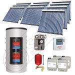 Set panouri solare tuburi vidate cu boiler instant SIU 10x20-1500.80.3BI, Set colectoare solare cu boiler instant 1500 litri, Colectoare solare cu tuburi vidate la set cu boiler instant 1500 litri