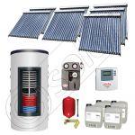 Set panouri solare tuburi vidate cu boiler instant SIU 7x20-1500.80.2BI, Set colectoare solare cu boiler instant 1500 litri, Colectoare solare cu tuburi vidate la set cu boiler instant 1500 litri