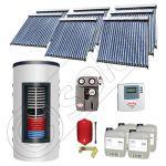 Set panouri solare tuburi vidate cu boiler instant SIU 8x20-1500.80.2BI, Set colectoare solare cu boiler instant 1500 litri, Colectoare solare cu tuburi vidate la set cu boiler instant 1500 litri