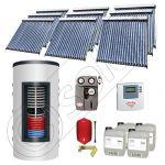 Set panouri solare tuburi vidate cu boiler instant SIU 9x20-1500.80.2BI, Set colectoare solare cu boiler instant 1500 litri, Colectoare solare cu tuburi vidate la set cu boiler instant 1500 litri