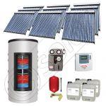 Set panouri solare tuburi vidate cu boiler instant SIU 9x20-1500.80.3BI, Set colectoare solare cu boiler instant 1500 litri, Colectoare solare cu tuburi vidate la set cu boiler instant 1500 litri