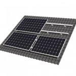 Kit de fixare pentru 4 panouri fotovoltaice in modul landscape, cu 8 sine din aluminiu, 6 elemente de prindere a sinelor intre ele, 10 cleme de fixare a modulelor, 10 carlige de fixare pentru tigla ceramica si setul complet de suruburi, saibe si piulite pret ieftin