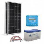 Kit pentru instalatii fotovoltaice autonome 360W 12V, cu 2 panouri solare monocristaline 180W 12V, regulator de incarcare MPPT 30A, un acumulator solar 150Ah 12V si setul complet de cabluri si conectori pret ieftin