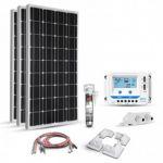 Kit fotovoltaic pentru barci, rulote si autorulote 300W cu 3 panouri solare monocristaline 100W 12V, un regulator de incarcare 30A 12V – 24V si 4 colturi de fixare impreuna cu cabluri presertizate pret ieftin