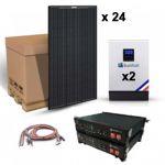 Kit solar autonom 7440W cu 24 panouri fotovoltaice monocristaline 315W 24V, 2 invertoare hibride MPPT 48V 80A si 2 acumulatori LITIU 3.5kWh 48V 74A pret ieftin